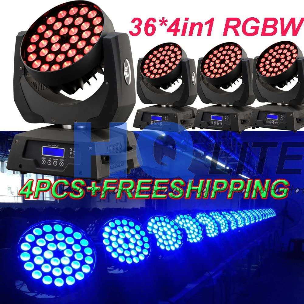 4PCS 36 led 4IN1 RGBW zoom moving head light LCD DISPLAY