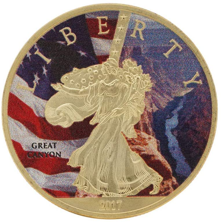 Statue of Liberty,Scenic Grand Canyon,Gilded,USA,Flag,Commemorative Coins,Collection,Badge,2017,2Pcs Best Gift/Golden / 2pcs