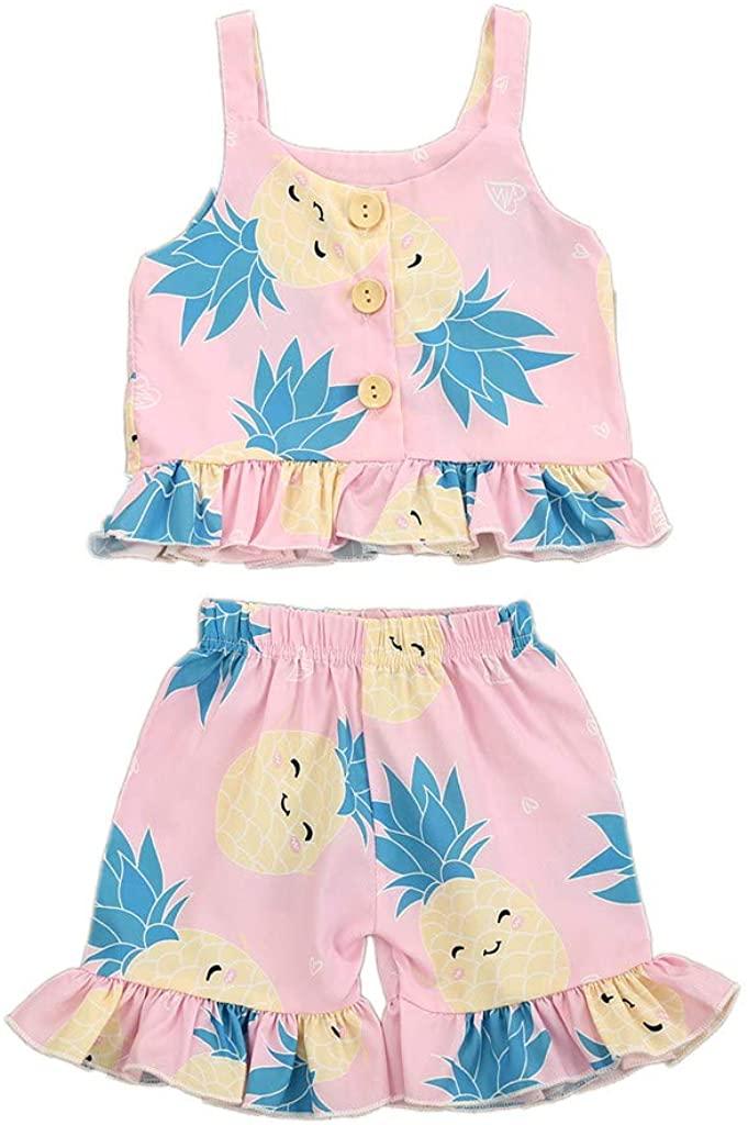 Adeliber Toddler Baby Kids Girls Sleeveless Pineapple Print Tops Ruffle Shorts Outfits