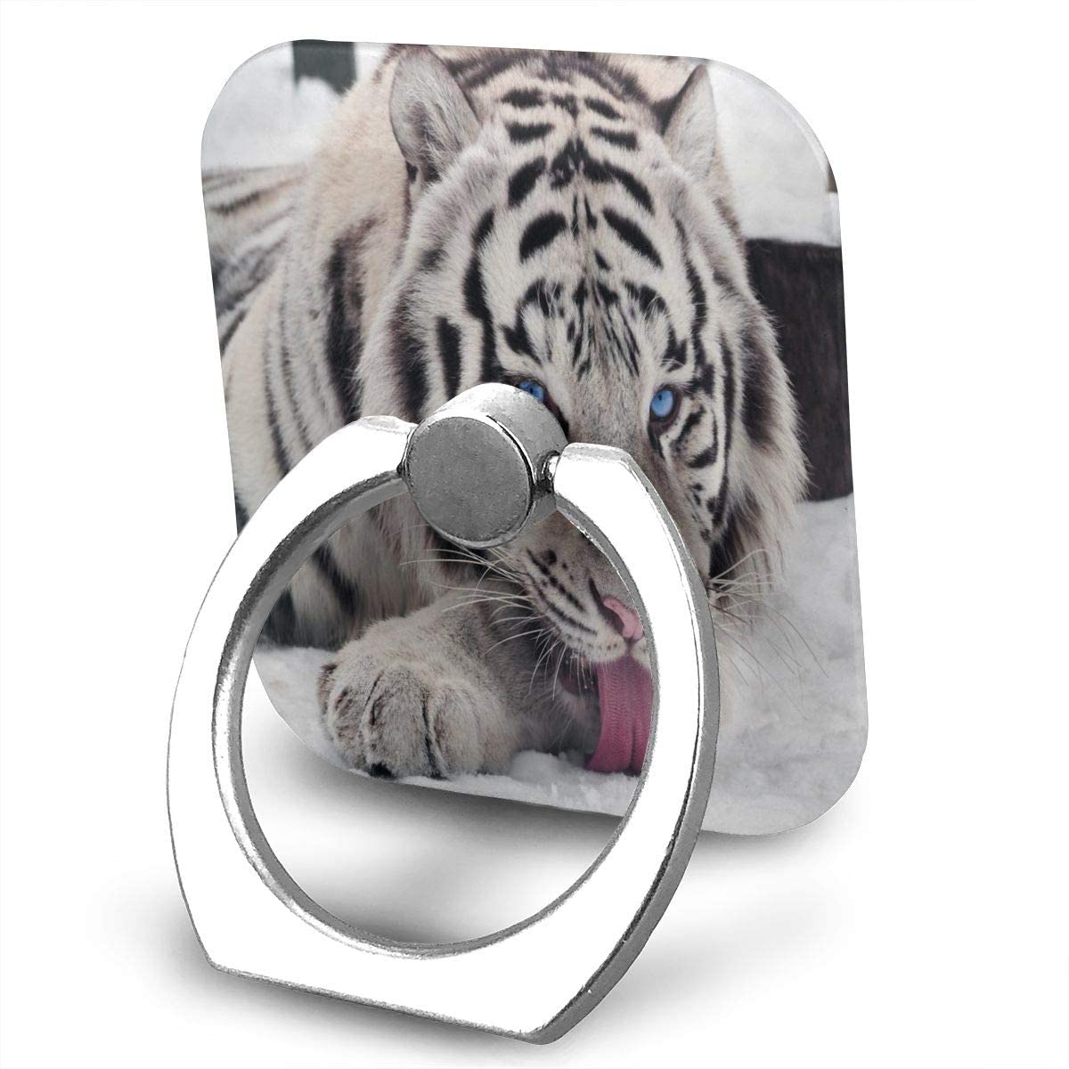 SLHFPX Universal Phone Ring Holder Trendy White Tiger Square Cell Phone Ring Stand Adjustable 360°Rotation Finger Kickstand Grip-Silver Mobile Phone Stand for Women Kids Men Ladies Smartphones