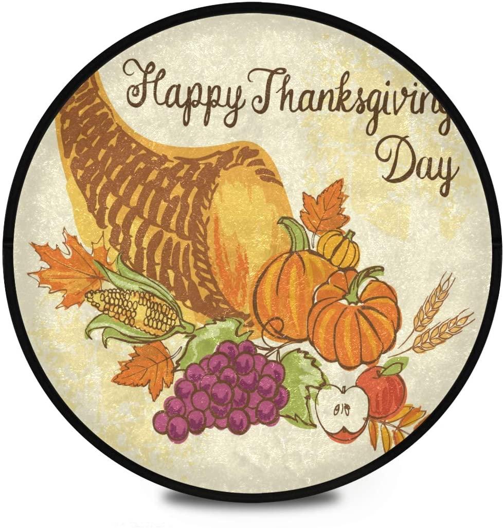 Thanksgiving Shaggy Round Mat Thanksgiving Full Fruits Vegetables Round Rug for Kids Bedroom Anti-Slip Rug Room Carpets