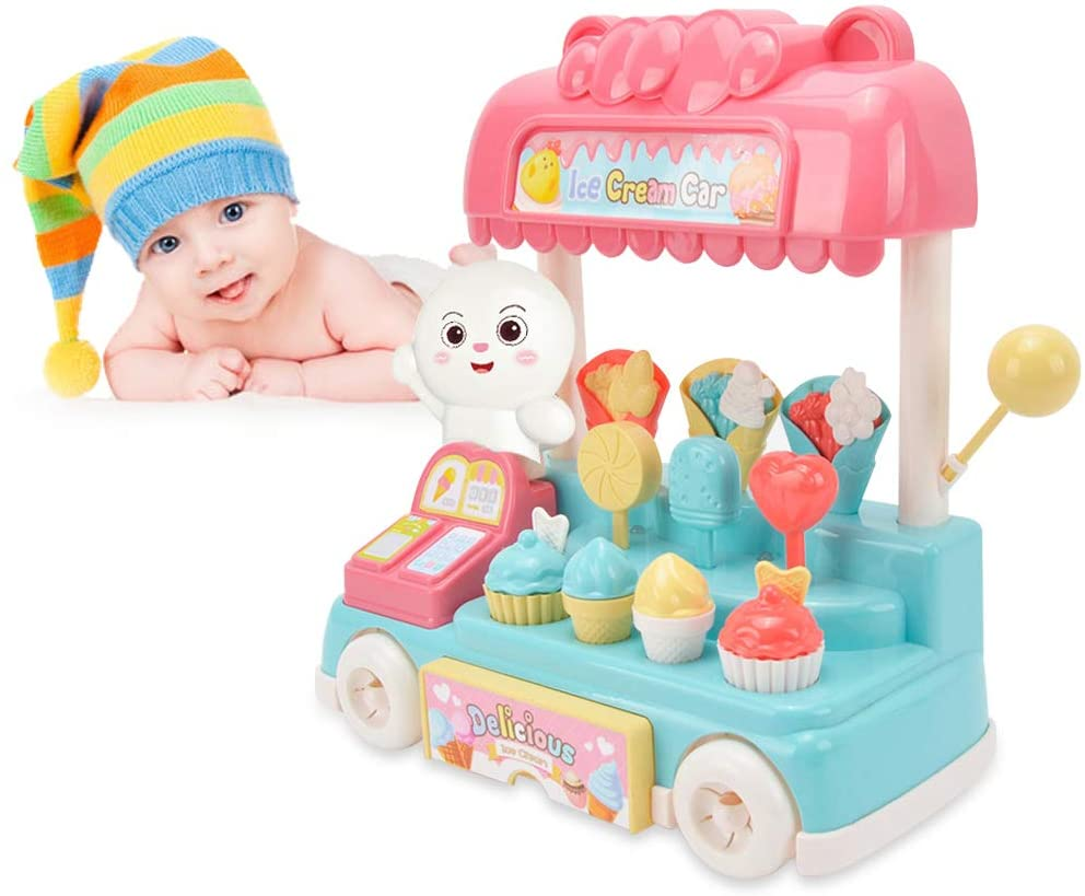 Ice Cream Cart, 14PCS Pretend Play Food Dessert and Cash Trolley Set Toys, Educational Ice Cream Trolley Truck with Music and Lighting for Kids and Girls