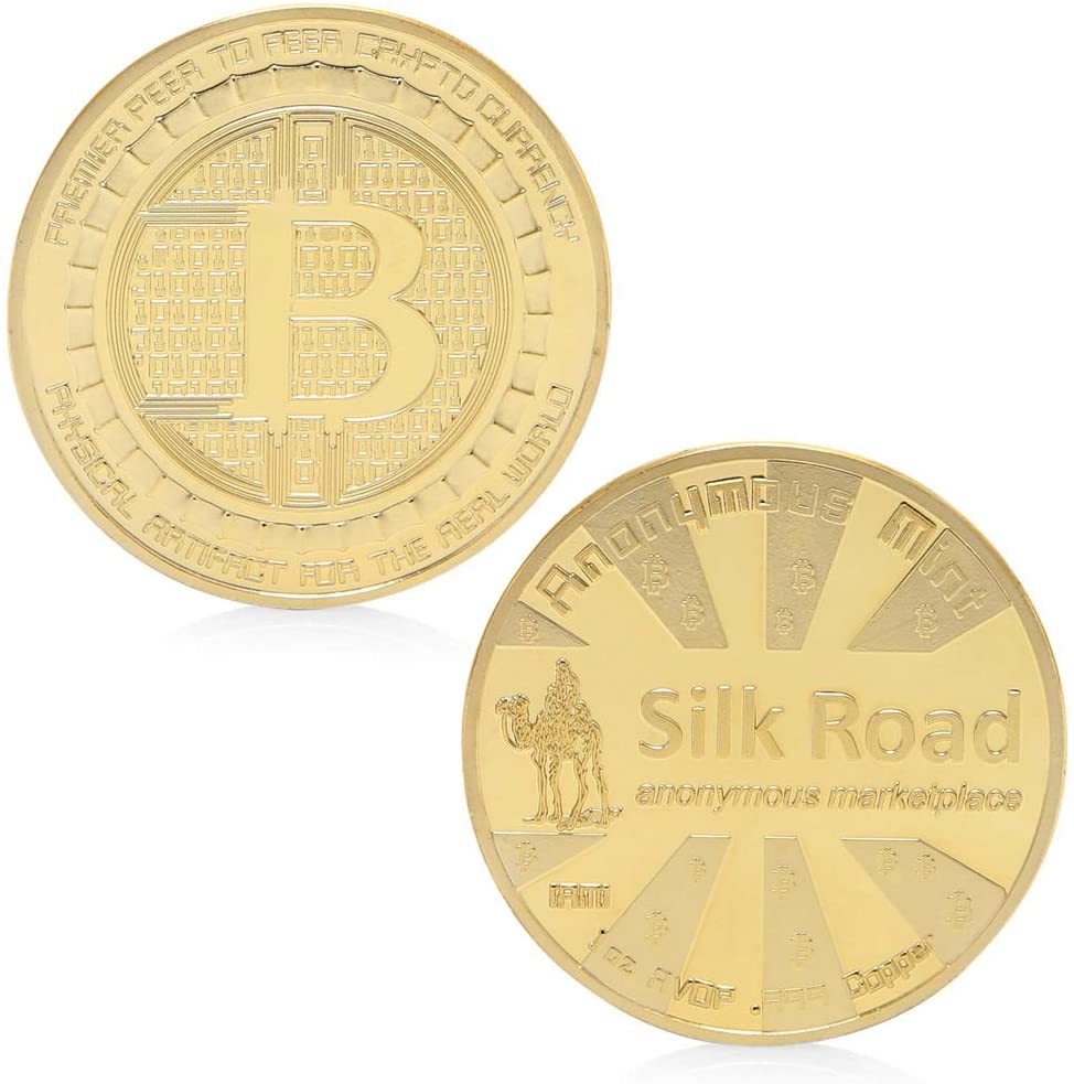 chefensty Silk Road Bitcoin BTC Coin Gold Plated Commemorative Coins Collectible Art Gift