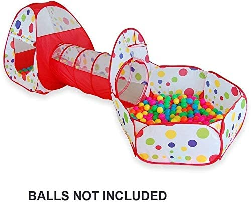 eoocvt 3pcs Play Tent Pool Ball Pit Pop up Kids Play Tent with Tunnel and Ball Pit Indoor and Outdoor Easy Folding Cute Polka Dot Play House Children's Playground with Zippered Storage Bag