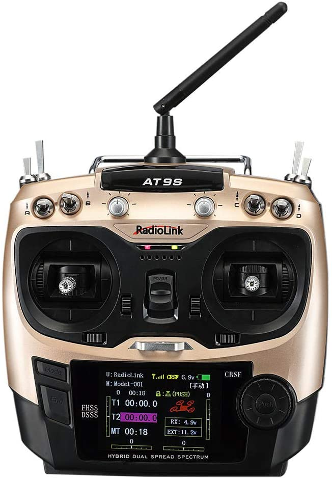 BeesClover Radiolink 2019 AT9S Pro TX 10/12CH RC Radio Controller T8S Crossfire Protocols with R12DSM RX 2.4G for Racing Drone Mode 1/2 Golden Right-Hand Throttle (Mode1) Creative Gift