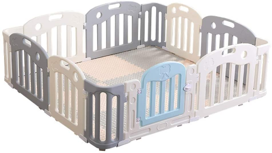 HWZQHJY Baby Playpen for Infant and Toddler with Gate for Babies - Large Indoor/Outdoor Plastic Play Pen with Panels - Safety Playgate with Fence for Kids