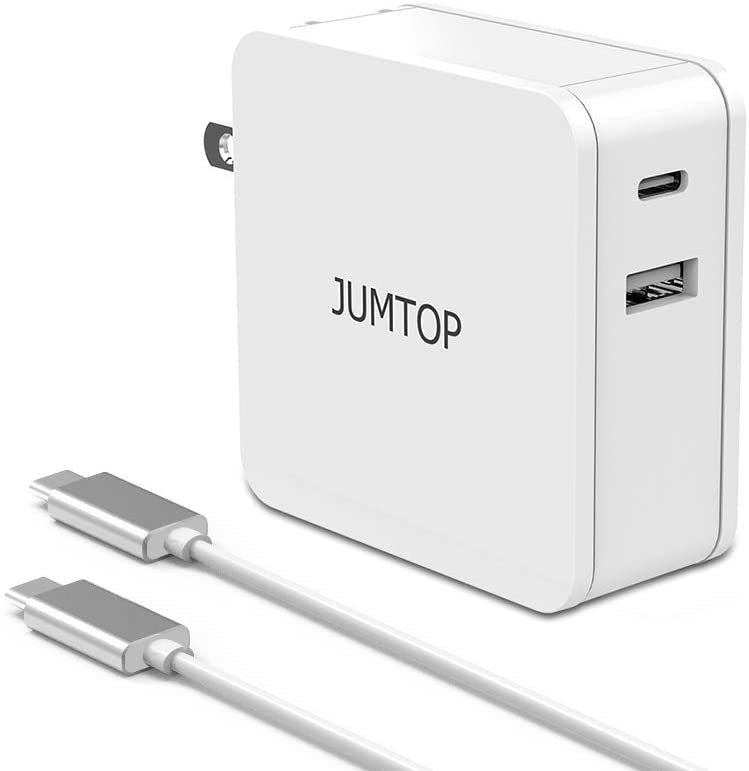 PD Charger 60W Power Delivery JUMTOP USB C Charger with 1.8m Cable & Foldable Plug Rapid Quick 3.0 Wall Charger 2 Port for MacBook, Laptop,Tablets,IPad,iPhone 11/10/XS/8/7/6 (White)