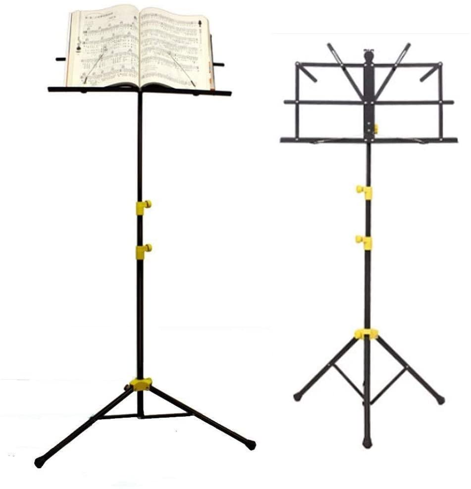QIENON Music Stand Sturdy Portable Adjustable Professional Foldable Stability Steel Lightweight & Compact Retractable for Storage or Travel 1208