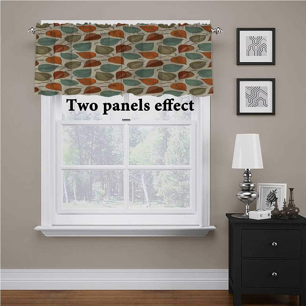 shirlyhome Floral Curtain Valance Colorful Foliage Design for Kids Room/Baby Nursery/Dormitory, 42 Inch by 18 Inch 1 Panel
