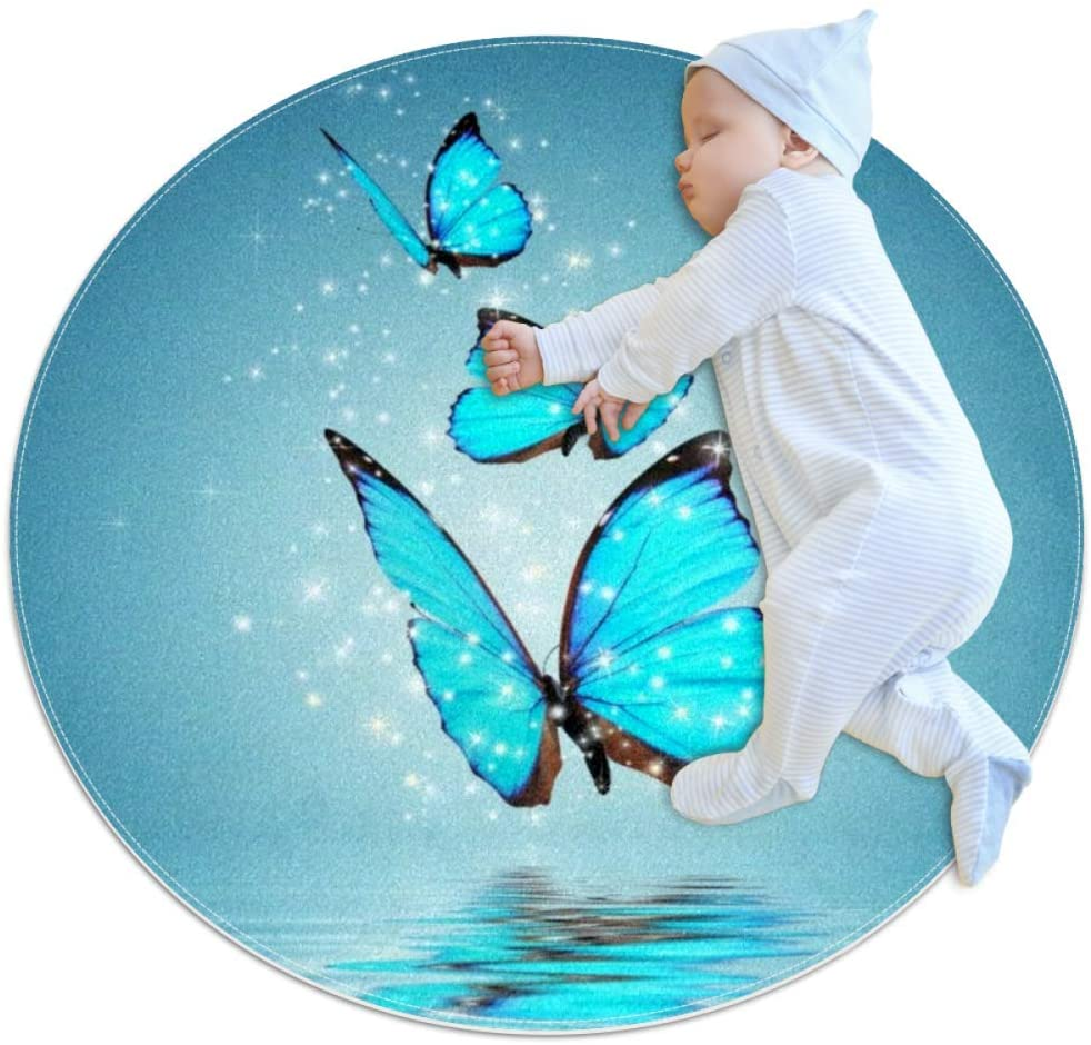 Water Blue Butterfly Baby Playmat Home Decorative Carpet Soft and Washable Pad Non-Slip for Kid's Toddler Infants Room 31.5x31.5IN