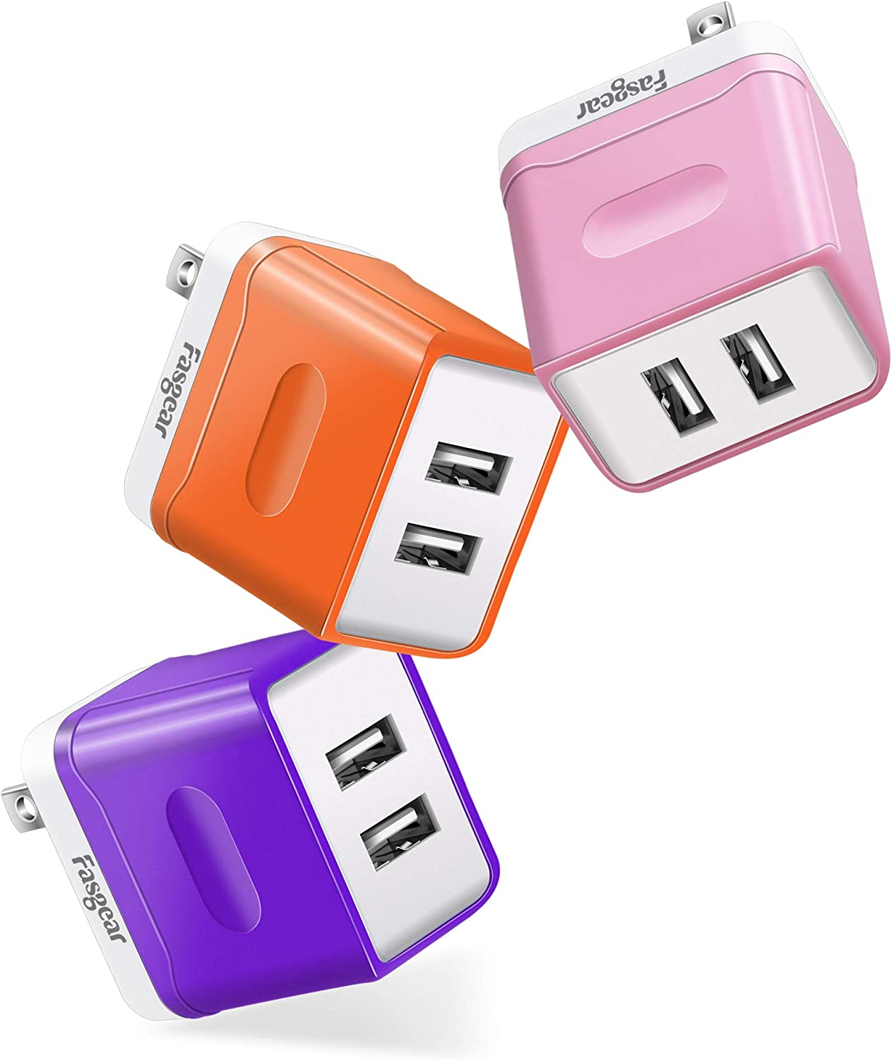 [3 Pack ] USB Wall Charger, Fasgear 15W Quick Charge Power Adapter Block,3 Amps Dual Port USB Charger Plug Compatible for iPhone X/XS, Galaxy S20+/S10/S9/Note 8 S7,Kindle, LG, HTC (Purple,Pink,Orange)