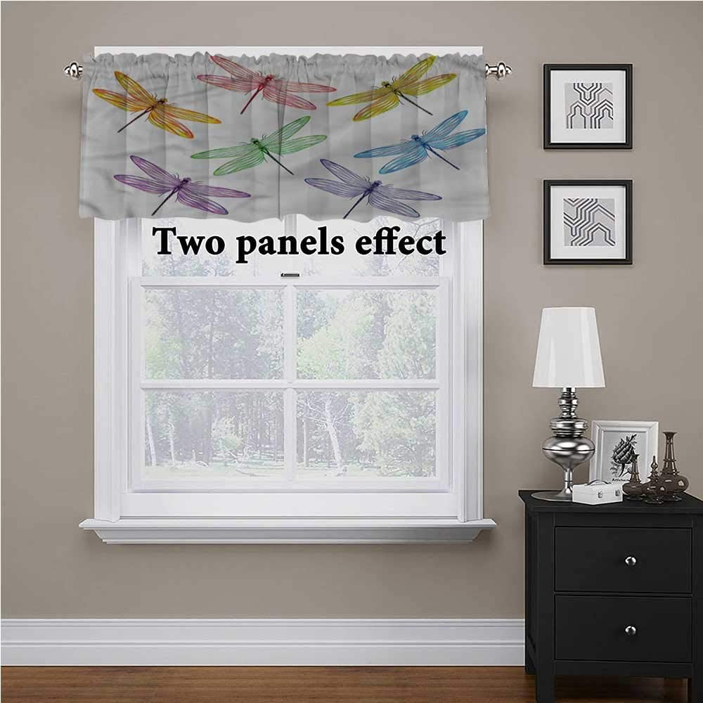 shirlyhome Dragonfly Tier Curtains for Living Room Colored Elongated Patches for Kids Room/Baby Nursery/Dormitory, 56 Inch by 14 Inch 1 Panel