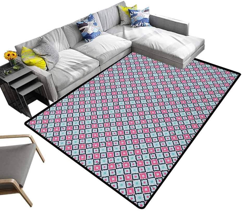 Floor Mat Ikat, Geometric Moroccan Rugs Bohemian Southeast Pattern Rhombus Soft Colors Image Ornamental Design Suitable for Baby Nursery Decor Baby Blue Pink Black, 4 x 4 Feet