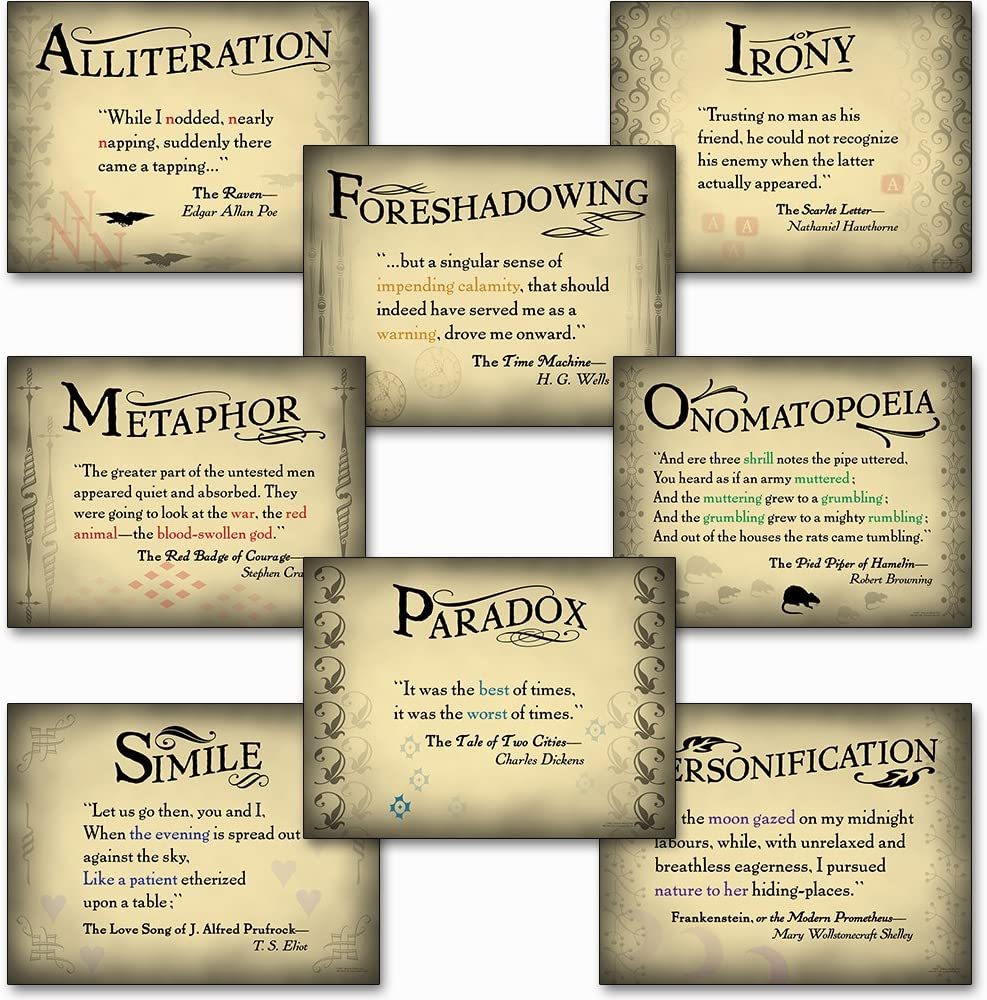 Literary Tools Set of Eight Laminated Literary Arts Posters Featuring: Foreshadowing, Irony, Metaphor, Onomatopoeia, Paradox, Alliteration, Personification, and Simile.