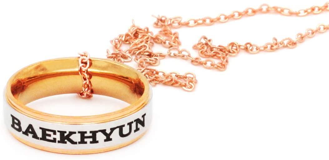 Fanstown Kpop EXO Finger Ring Engraved Double Deck Ring Member Name and Team Logo Design Rose Golden Necklace