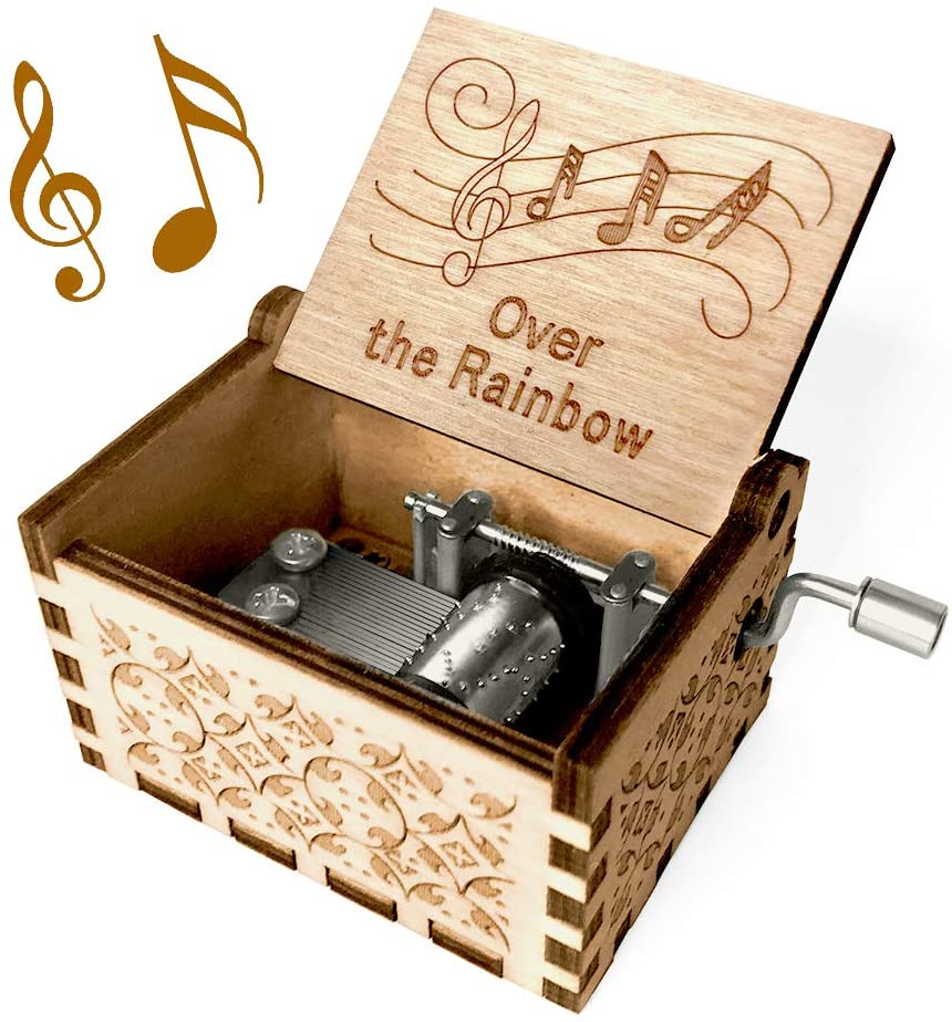 Over The Rainbow Music Box - Wood Laser Engraved Vintage Hand Cranked Cute Boxes Best Unique Gifts for Valentines Day/Wedding Day/Birthday