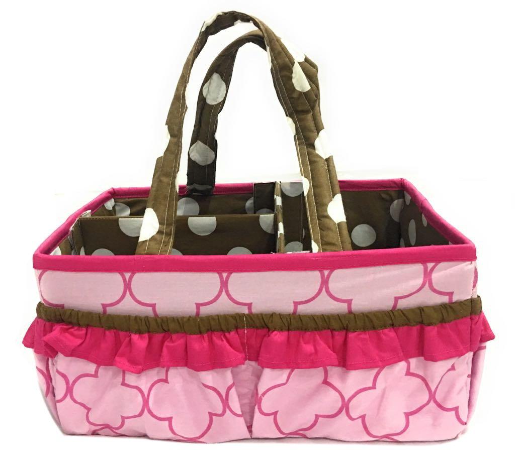 Bacati Butterflies Girls Nursery Fabric Storage Caddy with Handles, Pink/Chocolate