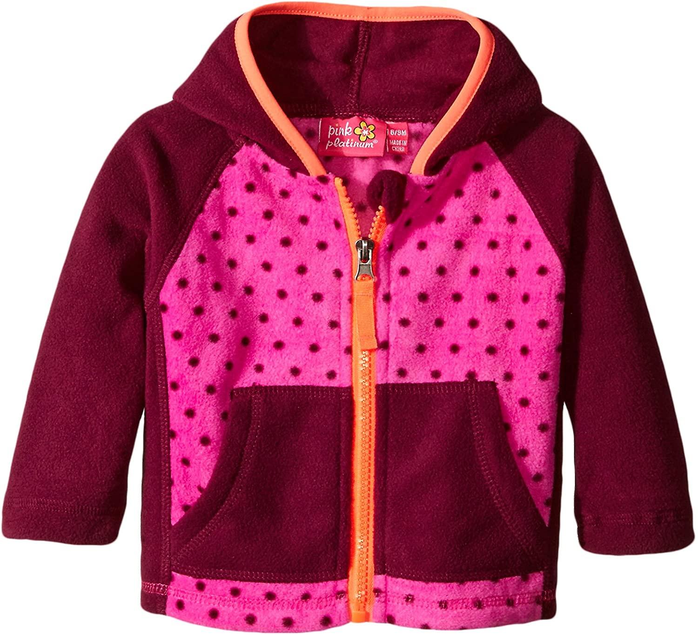 Pink Platinum Baby-Girls Newborn Dotted Fleece Jacket