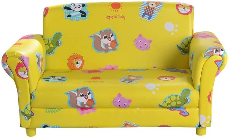 MWY Lazy Sofa Cortex Children's Sofa Armchair Cartoon Double Mini Sofa Wooden Frame Toddler Furniture Children's Chair Yellow 89X45x47cm