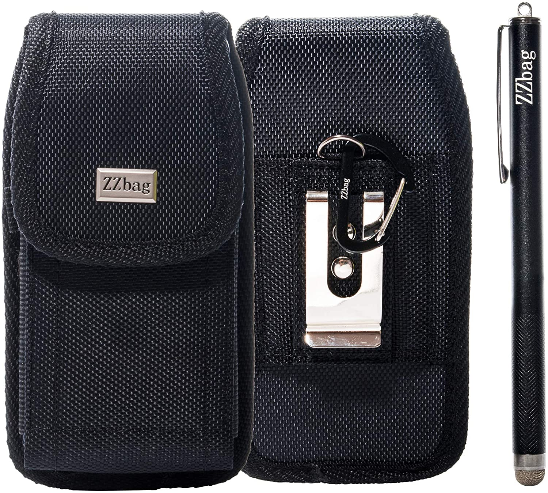 ZZbag Fits Motorola Moto G5S Plus/Moto E4 Plus/Moto G4/G5 Plus Premium Black Canvas Nylon Pouch Case Horizontal/Vertical Holster W/Clip Belt+Mesh Fiber Tip Series Precision Stylus Pen+ Keychain Hook