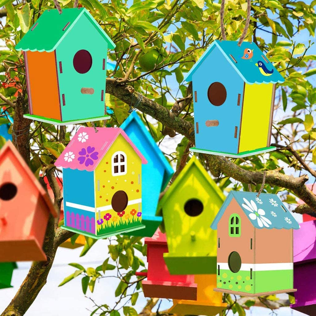 Kids DIY Bird House Kits-Build and Paint Wooden Birdhouse Arts and Crafts 80ml,for Kid Children Educational Fun Creative Gifts (Multicolor)