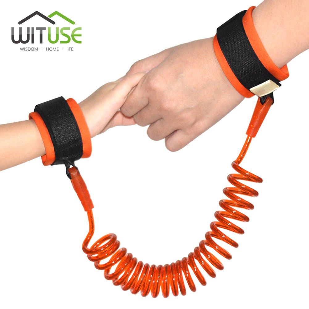 Baby Anti-Lost Wrist Link Orange Braclet Wristband Toddler Harness Leash 1.5m
