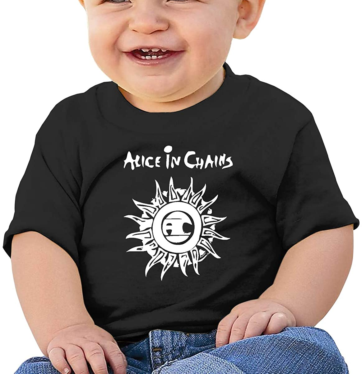 Baby T-Shirt Cute Infant Home Alice in Chains Graphic Toddler T Boys and Girls Soft Short Sleeve Cotton Kids Shirt
