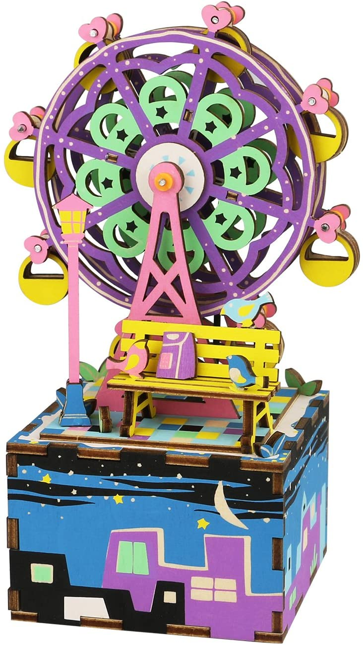 DIY Build It Yourself Wooden Music Box Kit with Hand Crank (Ferris Wheel)
