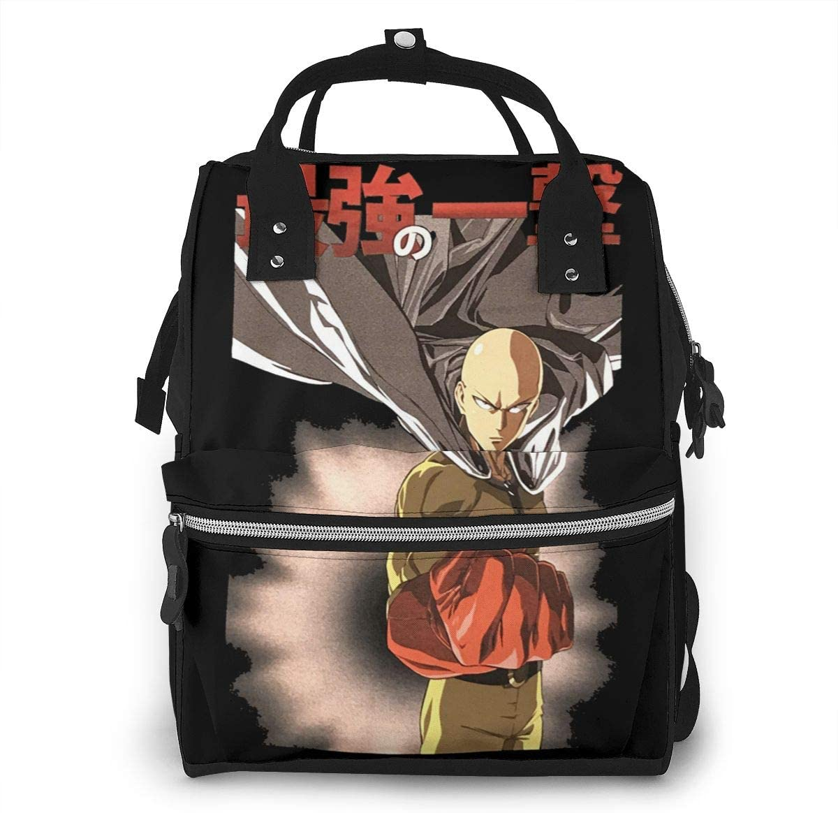 Sherrygeoffrey One Punch Man Diaper Backpack Large Capacity Travel Bag