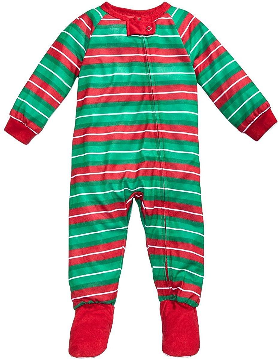Family Pajamas Unisex 1-Pc Striped Footed Pajamas
