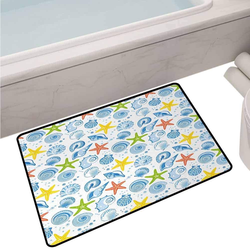 Anti-Slip Toilet Doormat Home Decor Starfishes Aqua Marine Inspirations Aquarium Oyster Nautical Wildlife Underwater,24