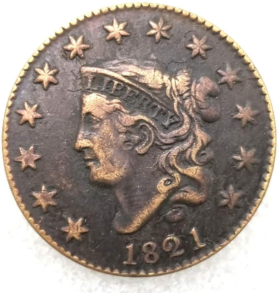 DengRen 1821 Antique Liberty One-Cent Replica Old Coin- American Commemorative Old Coin - US Old Coins- Uncirculated Hobo Nickel USA Morgan Dollar Coin Satisfactory Service