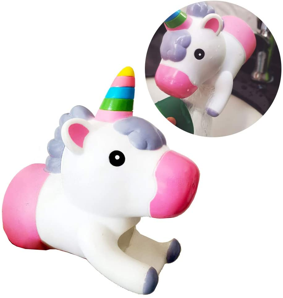1Pc Faucet Extender,Cute Cartoon Animal Faucet Extender Sink Handle Extender Bathroom Sink Extender Hand Washing For Toddler, Baby, Children(Powder Unicorn)