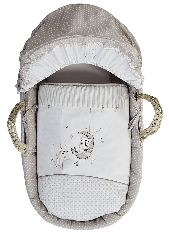 Clair de Lune Bedtime Story Palm Moses Basket inc. Bedding, Mattress & Adjustable Hood (Printed Pattern)