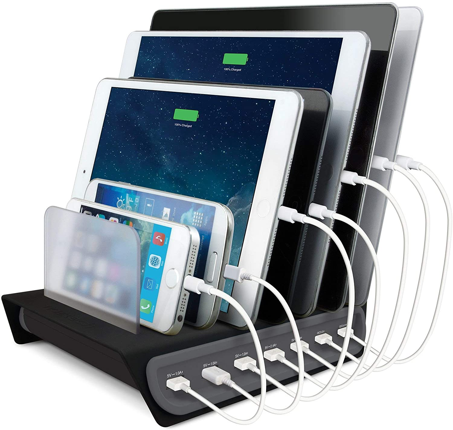 Naztech Power Hub 7 High-Speed Charging Station for Multiple Devices Charge 7 Devices Simultaneously Compatible with iPhone, Samsung, Tablets/iPads + More