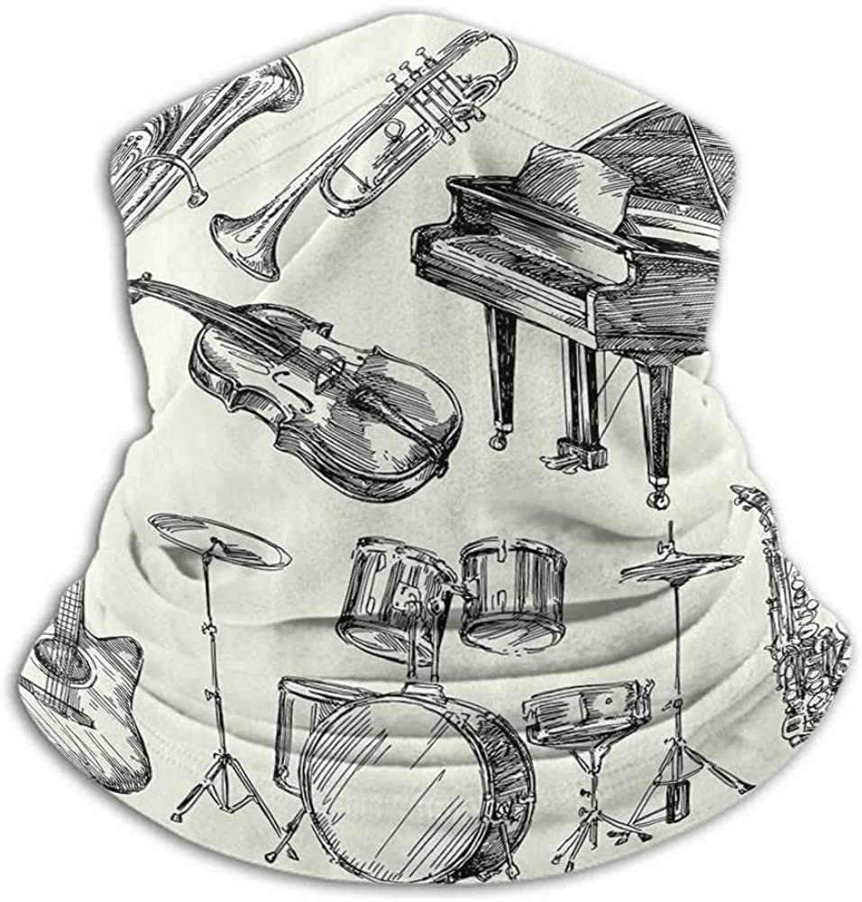 Neck Gaiters For Men Jazz Music Decor Recycle Elasticity Stretchable Collection of Musical Instruments Sketch Style Art with Trumpet Piano Guitar Beige Black