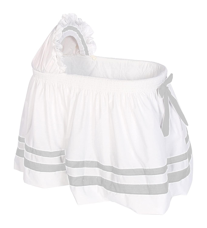 Baby Doll Bedding Modern Hotel Style II Bassinet Skirt, Grey