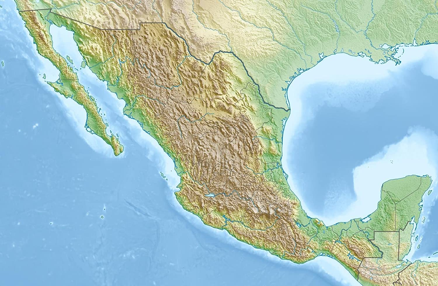 Gifts Delight Laminated 31x20 Poster: Mexico Relief Location map