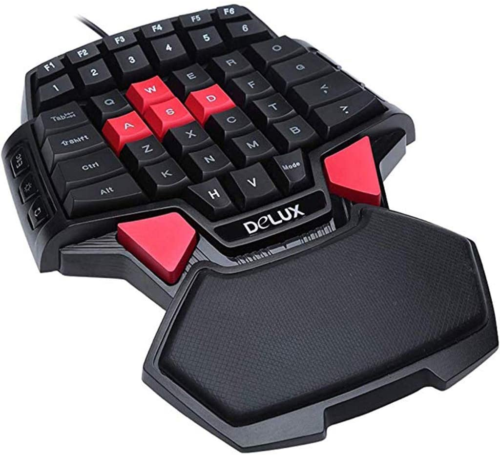 HourenJP One-Handed Mechanical Feel Keyboard, Wired USB Professional Gaming Keypad, Comfortable Wrist Rest, 47 Keys for Computer Notebook PC Laptop