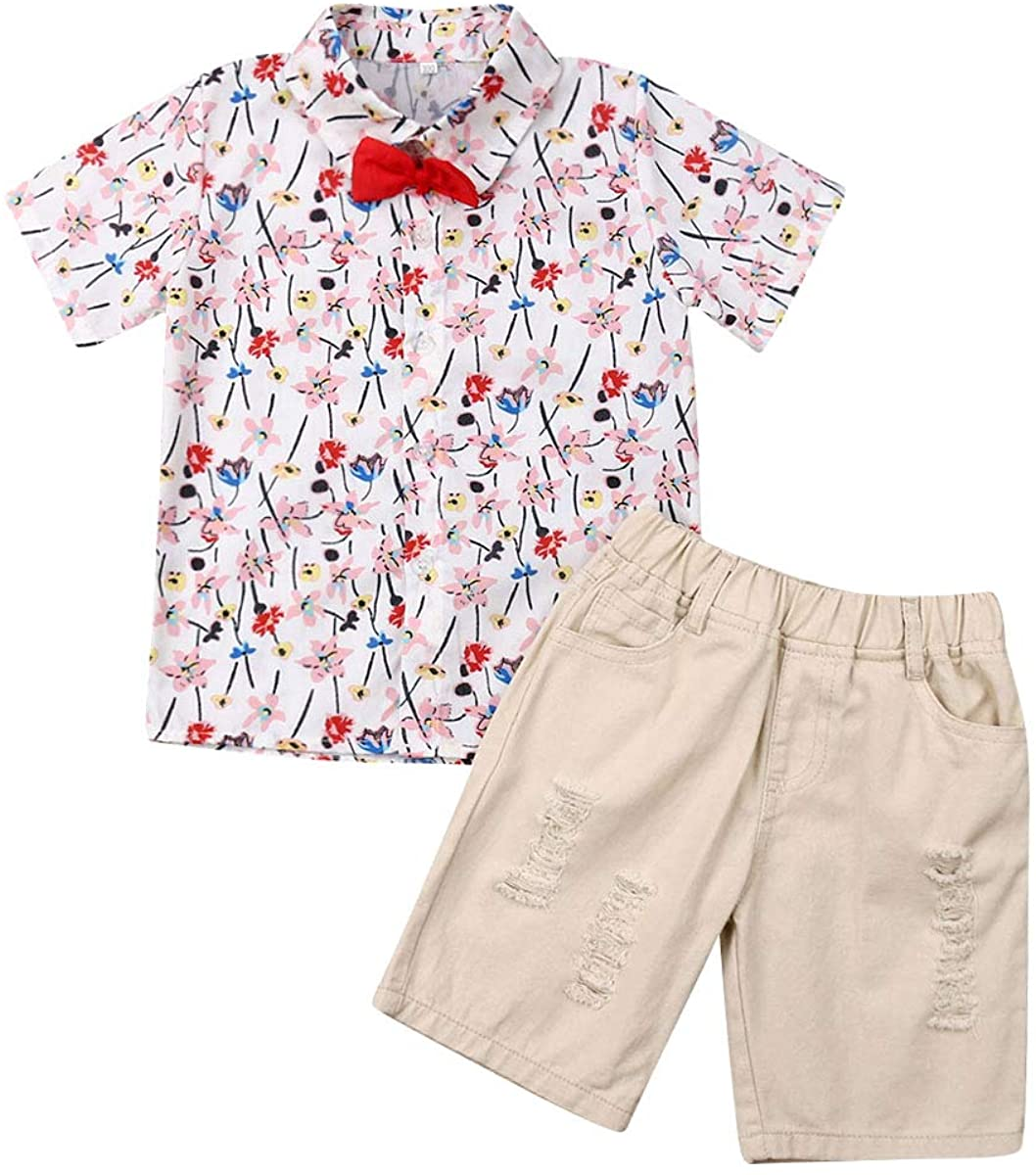 2 Pieces Toddler Baby Boy Gentleman Suit Rose Bow Tie Short Sleeve Floral Shirt Shorts Pants Outfit Set