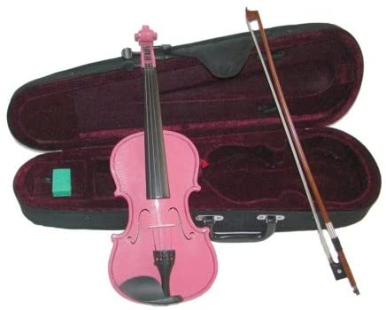 Merano MV300PK 1/2 Size Pink Violin with Case and Bow+Extra Set of Strings, Extra Bridge, Rosin, Pitch Pipe, Shoulder Rest