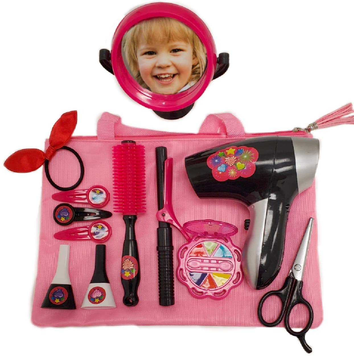 Pretend Hair Styling Set for Girls - Play Hair Salon Toys for Girls - Complete Toy Hair Styling Set - Toddler Beauty Salon Play Set with Pretend Makeup