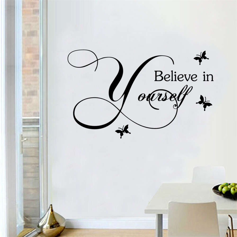 BIBITIME 3 Butterflies Sayings Believe in Yourself Wall Decal English Words Quotes Sticker for Nursery Classroom Children Kids Room Decor Home Art Mural