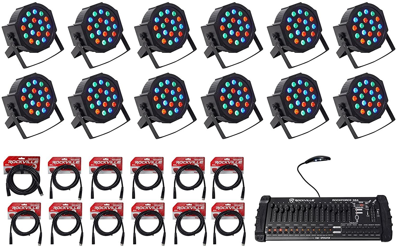 12) Rockville RockPAR50 Par Can DJ/Club Wash Lights+384 Ch DMX Controller+Cables