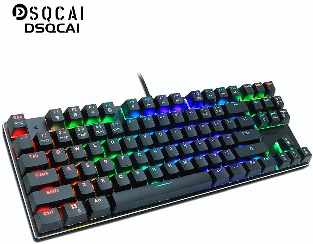 Ashtray High Performance RGB 87 Keys RU/US Mechanical Gaming Keyboard, Ergonomic Waterproof Dustproof Wired Keyboard with Metal Panel, Professional Gaming Keyboard,A