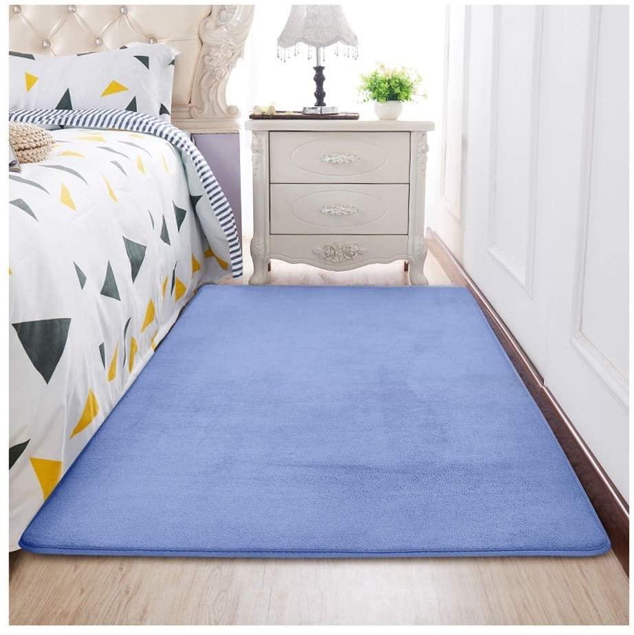ZJX-F Bedroom Bedside Rug, Soft Comfortable Skin-Friendly Child's Room Short Plush Living Room Sofa Floor Mat Carpet (Color : Dark Blue, Size : 160cmx120cm)