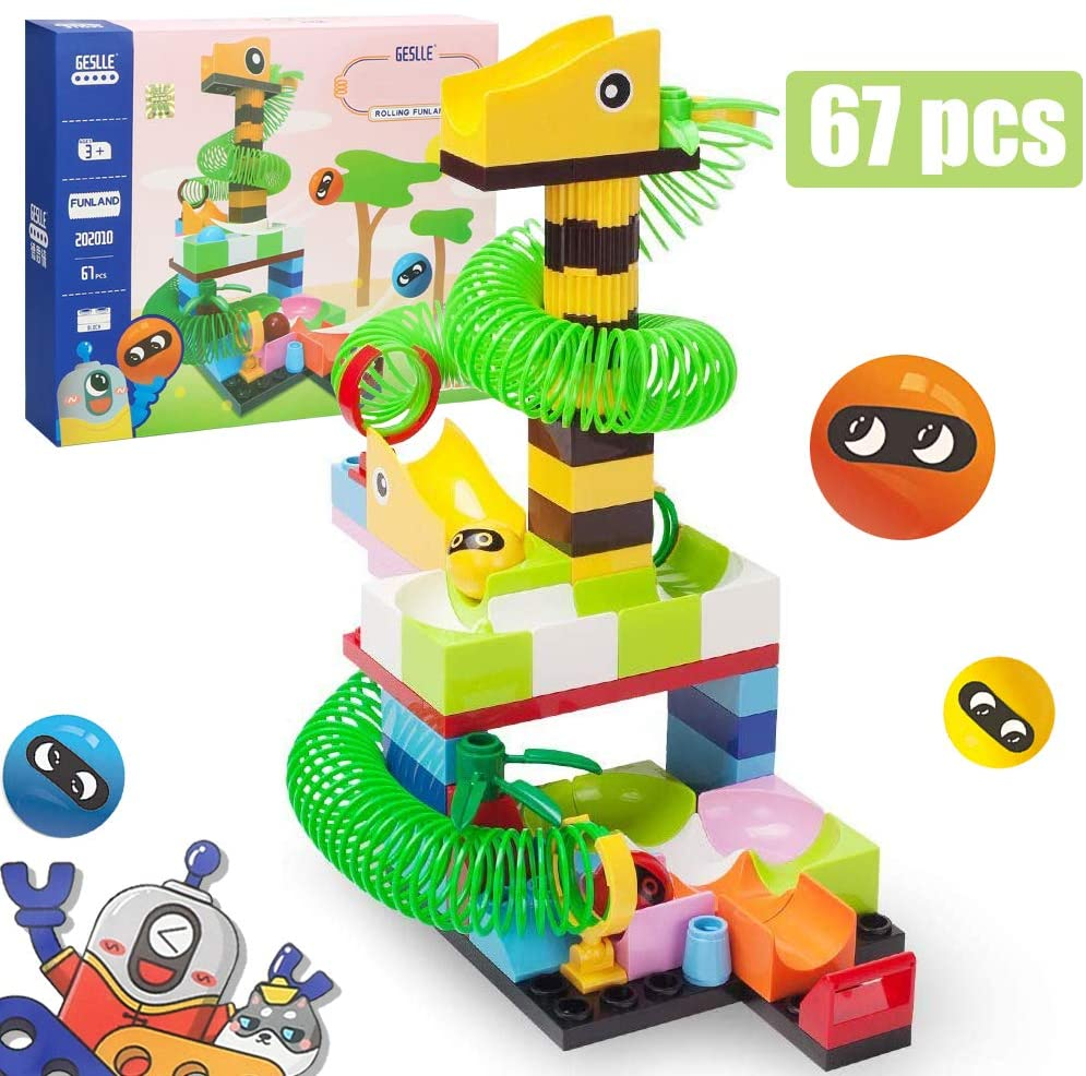 BRICK STORY Ball Run Toy, Ball Drop Toy, Ball Tower Toy for Toddlers, Animal and Forest Theme Ball Tracker Roll Again Tower Games, Marble Run Race Track Marble Building Blocks Toys & Gifts for Kids