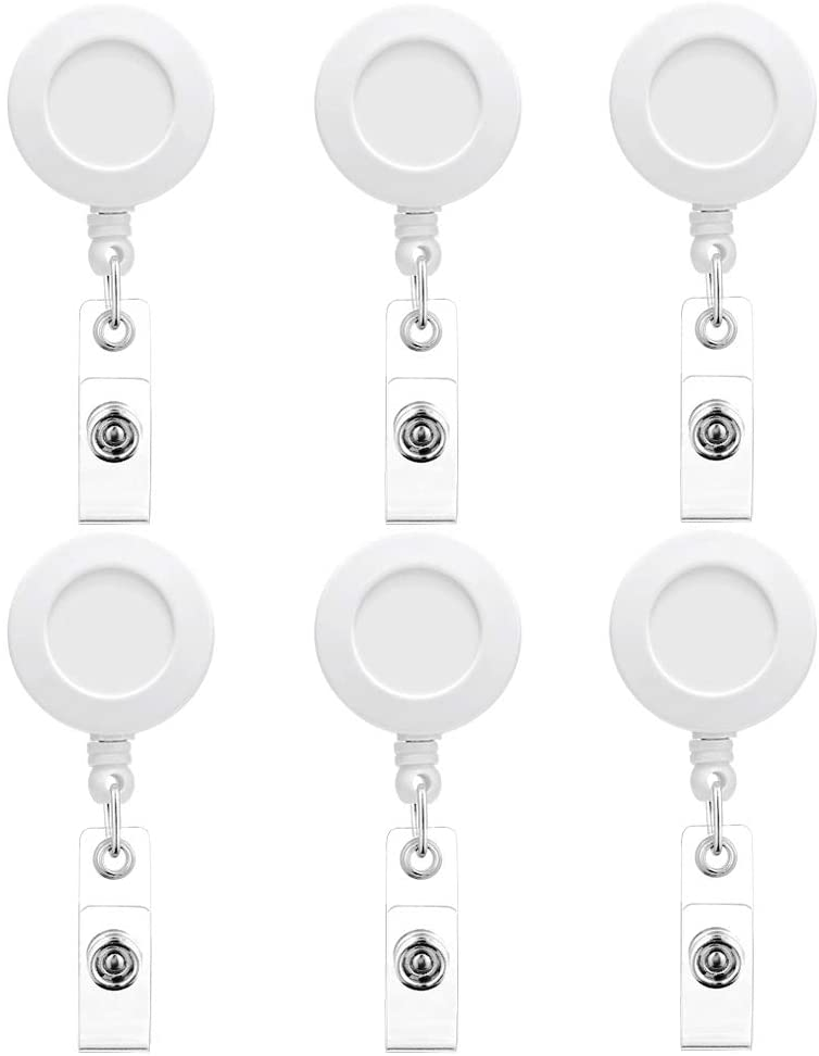 Artscope 6 Pack Solid Color Retractable Badge Reel Holder, 24 inch Retractable Cord, ID Name Badge Holder Clip, Nurse Badge Reel with 360° Rotate Alligator Clip (White)