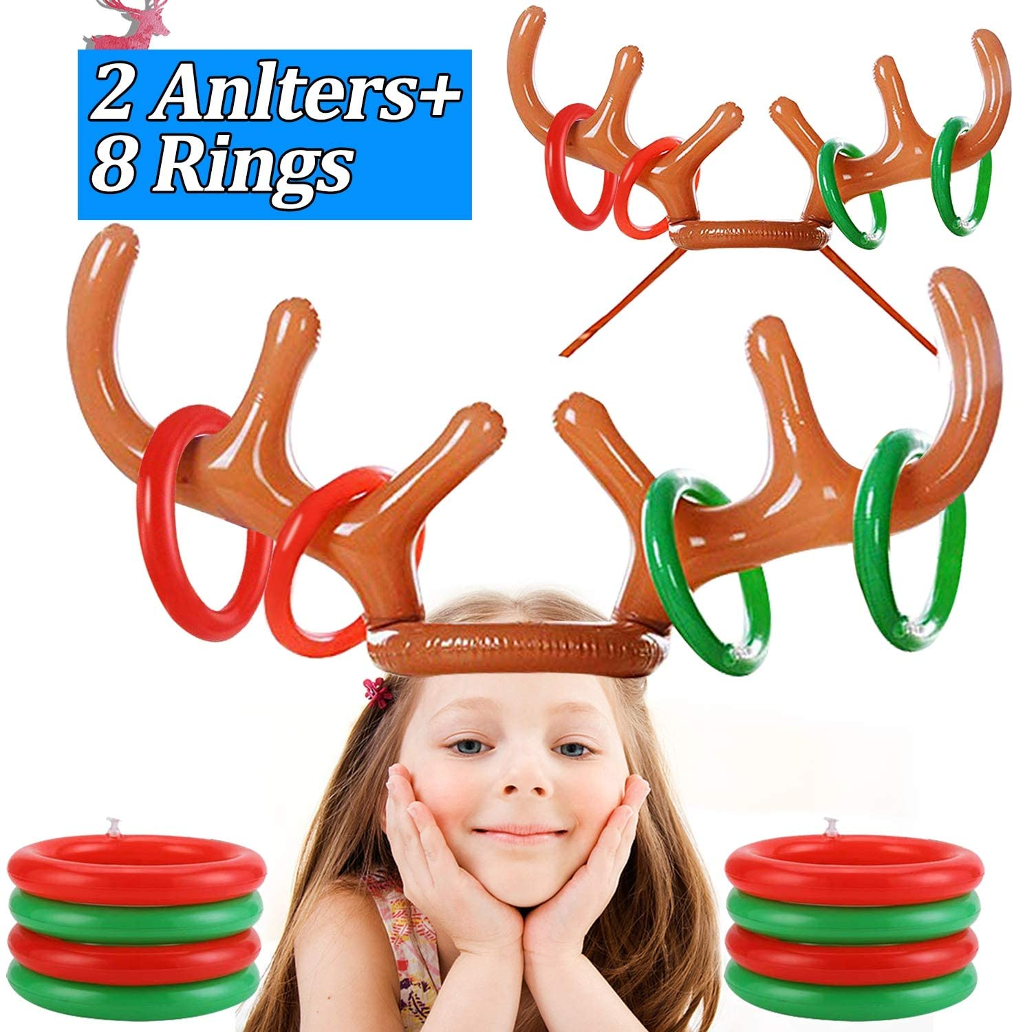 2 Pack Inflatable Reindeer Antlers Ring Toss Game, Inflatable Reindeer Antler Hat for Kids Adults Indoor Outdoor Carnival Game Xmas Family Party Antler Toss Games (2 Antlers 8 Rings)