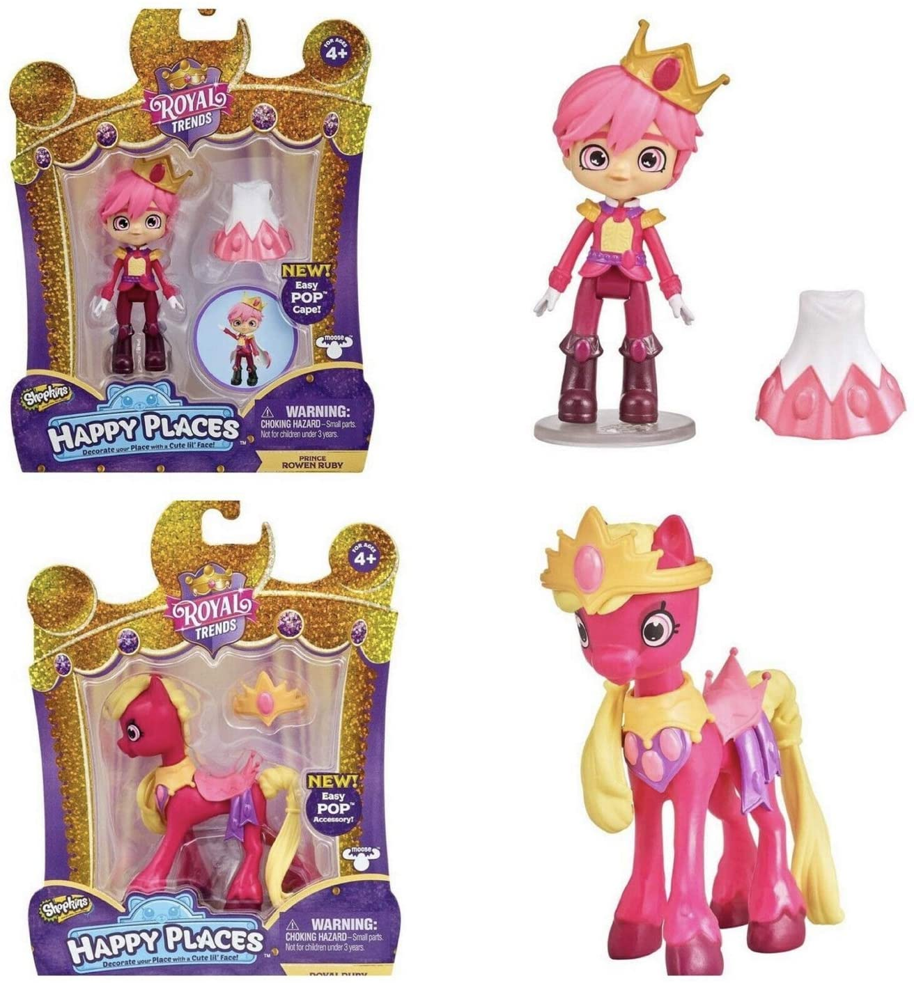HAPPY PLACES Shopkins Royal Trends Prince Rowen Ruby and Royal Ruby Horse Bundle